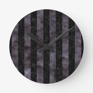 STRIPES1 BLACK MARBLE & BLACK WATERCOLOR ROUND CLOCK