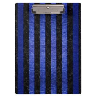 STRIPES1 BLACK MARBLE & BLUE BRUSHED METAL CLIPBOARD