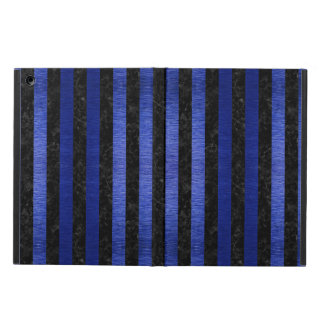 STRIPES1 BLACK MARBLE & BLUE BRUSHED METAL COVER FOR iPad AIR