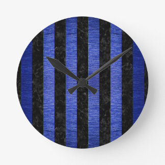 STRIPES1 BLACK MARBLE & BLUE BRUSHED METAL ROUND CLOCK