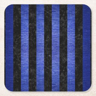 STRIPES1 BLACK MARBLE & BLUE BRUSHED METAL SQUARE PAPER COASTER