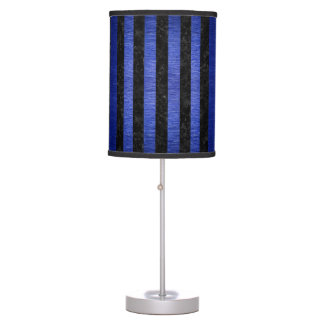 STRIPES1 BLACK MARBLE & BLUE BRUSHED METAL TABLE LAMP