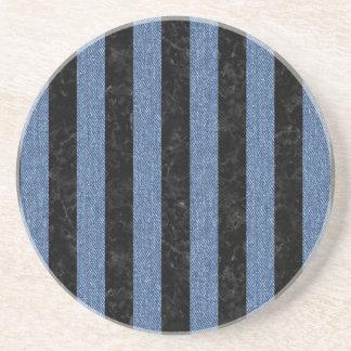 STRIPES1 BLACK MARBLE & BLUE DENIM COASTER