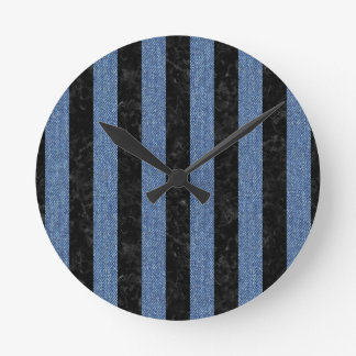 STRIPES1 BLACK MARBLE & BLUE DENIM ROUND CLOCK