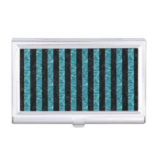STRIPES1 BLACK MARBLE & BLUE-GREEN WATER BUSINESS CARD HOLDER