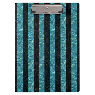 STRIPES1 BLACK MARBLE & BLUE-GREEN WATER CLIPBOARD