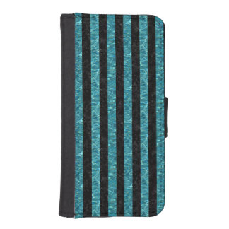 STRIPES1 BLACK MARBLE & BLUE-GREEN WATER iPhone SE/5/5s WALLET CASE