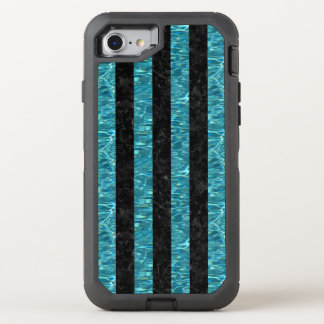 STRIPES1 BLACK MARBLE & BLUE-GREEN WATER OtterBox DEFENDER iPhone 8/7 CASE