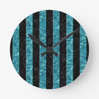 STRIPES1 BLACK MARBLE & BLUE-GREEN WATER ROUND CLOCK