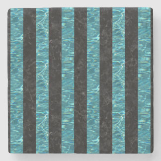 STRIPES1 BLACK MARBLE & BLUE-GREEN WATER STONE COASTER