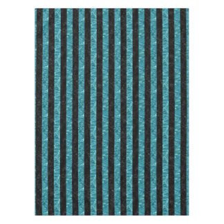 STRIPES1 BLACK MARBLE & BLUE-GREEN WATER TABLECLOTH