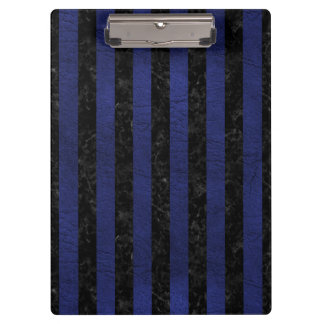 STRIPES1 BLACK MARBLE & BLUE LEATHER CLIPBOARD