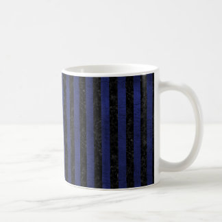 STRIPES1 BLACK MARBLE & BLUE LEATHER COFFEE MUG