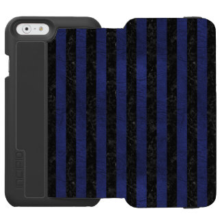 STRIPES1 BLACK MARBLE & BLUE LEATHER INCIPIO WATSON™ iPhone 6 WALLET CASE