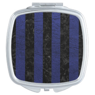 STRIPES1 BLACK MARBLE & BLUE LEATHER MIRRORS FOR MAKEUP