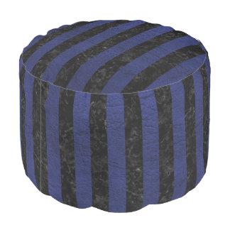 STRIPES1 BLACK MARBLE & BLUE LEATHER POUF