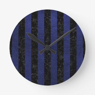 STRIPES1 BLACK MARBLE & BLUE LEATHER ROUND CLOCK