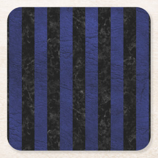 STRIPES1 BLACK MARBLE & BLUE LEATHER SQUARE PAPER COASTER