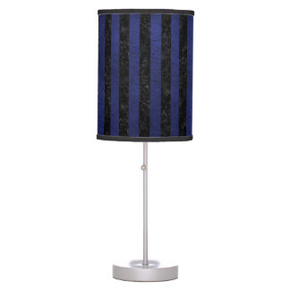 STRIPES1 BLACK MARBLE & BLUE LEATHER TABLE LAMP