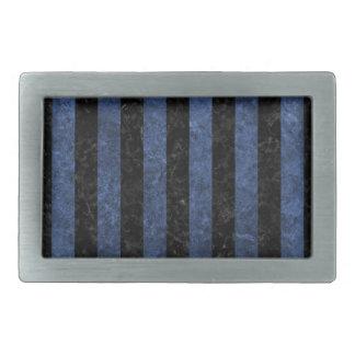 STRIPES1 BLACK MARBLE & BLUE STONE BELT BUCKLE