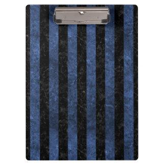 STRIPES1 BLACK MARBLE & BLUE STONE CLIPBOARD