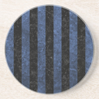 STRIPES1 BLACK MARBLE & BLUE STONE COASTER