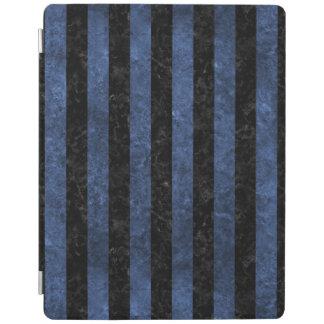 STRIPES1 BLACK MARBLE & BLUE STONE iPad COVER