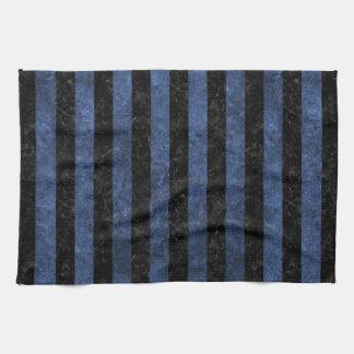 STRIPES1 BLACK MARBLE & BLUE STONE KITCHEN TOWEL