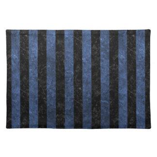 STRIPES1 BLACK MARBLE & BLUE STONE PLACEMAT