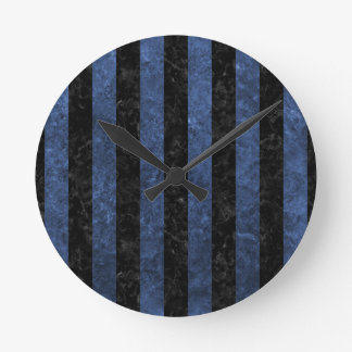 STRIPES1 BLACK MARBLE & BLUE STONE ROUND CLOCK