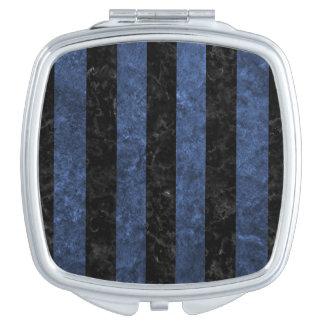 STRIPES1 BLACK MARBLE & BLUE STONE TRAVEL MIRRORS