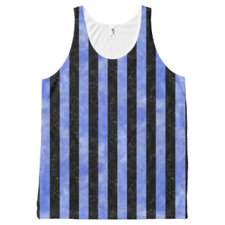 STRIPES1 BLACK MARBLE & BLUE WATERCOLOR All-Over-Print TANK TOP