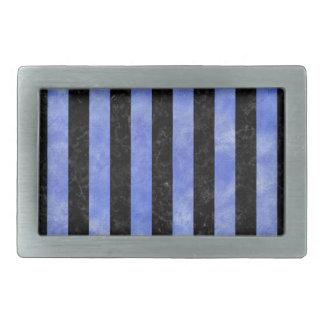 STRIPES1 BLACK MARBLE & BLUE WATERCOLOR BELT BUCKLES