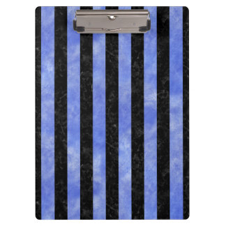 STRIPES1 BLACK MARBLE & BLUE WATERCOLOR CLIPBOARD