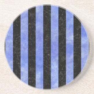 STRIPES1 BLACK MARBLE & BLUE WATERCOLOR COASTER