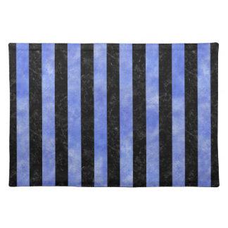 STRIPES1 BLACK MARBLE & BLUE WATERCOLOR PLACEMAT