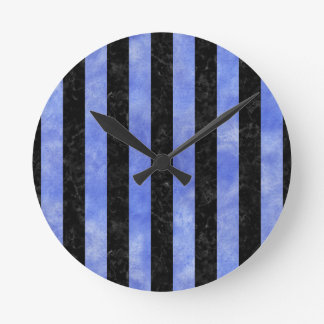 STRIPES1 BLACK MARBLE & BLUE WATERCOLOR ROUND CLOCK