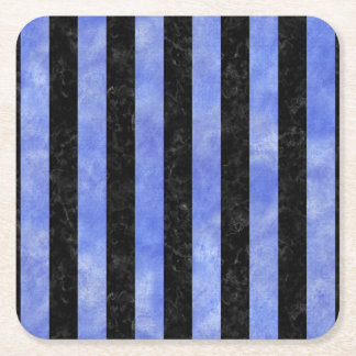 STRIPES1 BLACK MARBLE & BLUE WATERCOLOR SQUARE PAPER COASTER