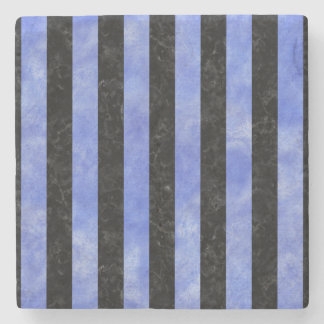 STRIPES1 BLACK MARBLE & BLUE WATERCOLOR STONE COASTER