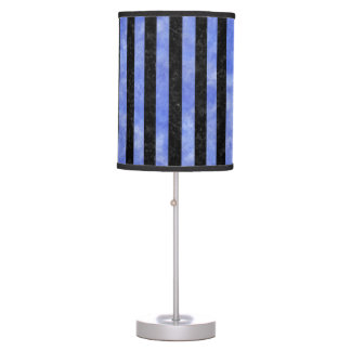 STRIPES1 BLACK MARBLE & BLUE WATERCOLOR TABLE LAMP
