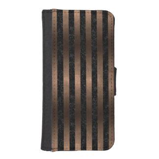 STRIPES1 BLACK MARBLE & BRONZE METAL iPhone SE/5/5s WALLET CASE