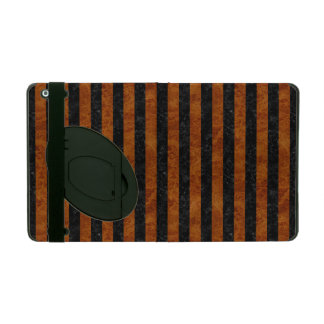 STRIPES1 BLACK MARBLE & BROWN MARBLE iPad COVER