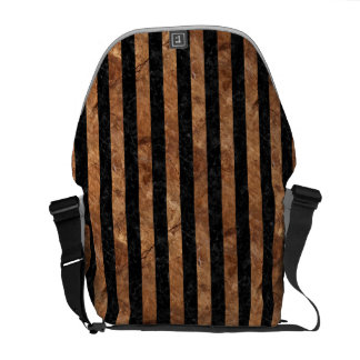 STRIPES1 BLACK MARBLE & BROWN STONE COURIER BAGS