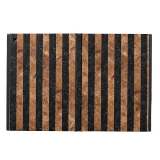 STRIPES1 BLACK MARBLE & BROWN STONE COVER FOR iPad AIR