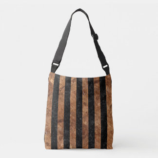 STRIPES1 BLACK MARBLE & BROWN STONE CROSSBODY BAG