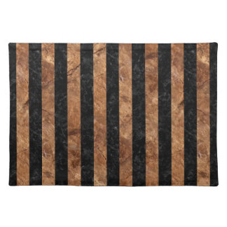 STRIPES1 BLACK MARBLE & BROWN STONE PLACEMAT