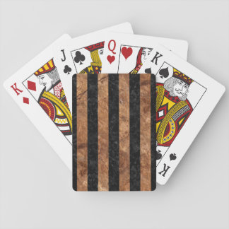 STRIPES1 BLACK MARBLE & BROWN STONE PLAYING CARDS