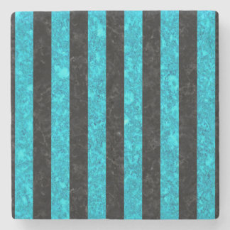 STRIPES1 BLACK MARBLE & TURQUOISE MARBLE STONE COASTER