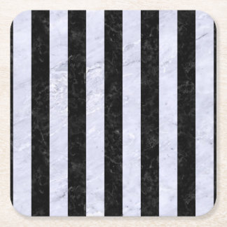 STRIPES1 BLACK MARBLE & WHITE MARBLE SQUARE PAPER COASTER