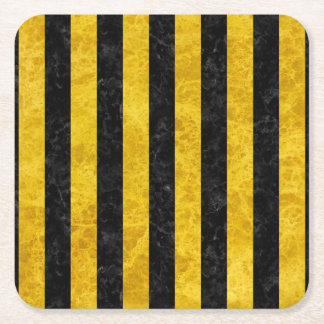 STRIPES1 BLACK MARBLE & YELLOW MARBLE SQUARE PAPER COASTER